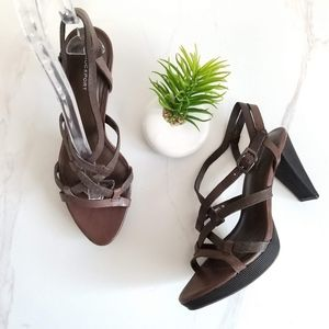 Rockport Brown Leather Open Toe Heeled Sandals New